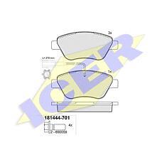 ICER 181444-701 (9949273 / 77362194 / 77362548) колодки дисковые передние \ Fiat (Фиат) stilo 1.2i / 1.6i 01>