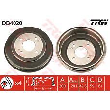 TRW DB4020 (42610SE0000 / 42610SR1000 / 42610SR3000) барабан тормозной\ Honda (Хонда) Accord (Аккорд) ca 86-89 / Civic (Цивик) 1.3-1.6i 16v eg 92>