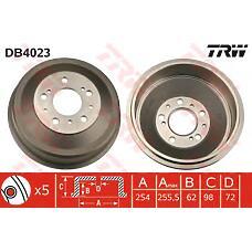 TRW DB4023 (424722 / 4449694 / 1313675080) тормозной барабан psa jamper / Boxer (Боксер) / / Ducato (Дукато) 1,9-2,8l 94-> (254x98x64,5mm)