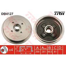 TRW DB4127 (1H0501615A / 191501615A / 115330192) барабан тормозной VW Golf (Гольф) 3 / Polo (Поло) / Skoda (Шкода) Felicia (Фелиция) 201x49,5