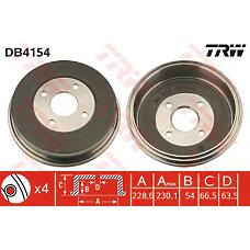 TRW DB4154 (6710010 / 1027371 / 93BB1126CA) барабан тормозной Ford (Форд) mondeo