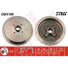 TRW DB4188 (357501615) барабан тормозной VW Passat (Пассат) b3 / 4 1 шт (min 2 шт)