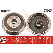 TRW DB4221 (4A0501615B / 4A0501615A / 4AO501615A) тормозной барабан Audi (Ауди) 100