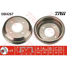 TRW DB4267 (5841125010 / 5841122100 / 5841125201) барабан тормозной Hyundai (Хендай) accent