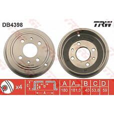 TRW DB4398 (7750119 / 7599325 / 46819776) барабан тормозной