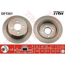 TRW DF1561 (34211119581 / 34216755407 / 34211122282) диск торм. BMW (БМВ) e30 задн.не вент. 1 шт (min 2 шт)