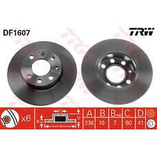 TRW DF1607 (569028 / 90008003 / 569017) диск тормозной пер Opel (Опель) kadett d / e