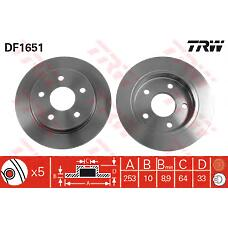 TRW DF1651 (5022949 / 6158215 / 5022669) диск тормозной зад Ford (Форд) scorpio