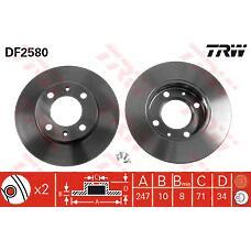 TRW DF2580 (4246G9 / 4246A2 / 4246A1) диск тормозной зад Peugeot (Пежо) 405
