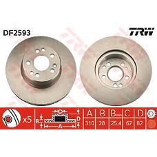 TRW DF2593 (1404211012 / 1404210312 / A1404210312) диск торм. mb w140 280-300 перед.вент. . 1 шт (min 2 шт)