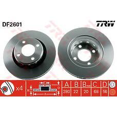 TRW DF2601 (8A0615301A / 8A0615301E / 8AO615301A) диск тормозной передний\ Audi (Ауди) 80 1.6-1.9tdi <01