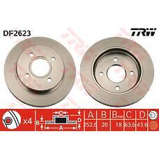 TRW DF2623 (5026786 / 1025911 / 4115996) диск тормозной задний\ Ford (Форд) Mondeo (Мондео) / Scorpio (Скорпио) all 93>