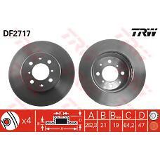 TRW DF2717 (45251SK3E00 / GBD90830 / EAP9579) диск тормозной к т (2шт цена за 1шт)