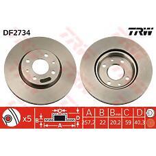 TRW DF2734 (46401356 / 46542383 / 46831041) диск тормозной пер. вент stilo