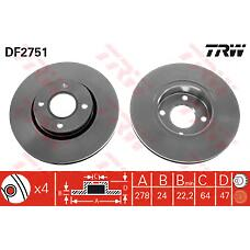TRW DF2751 (5026785 / 6676462 / 4070864) диск тормозной пер Ford (Форд) Mondeo (Мондео) 93- вент