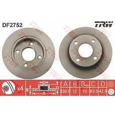 TRW DF2752 (1E0333251 / 1013581 / 1112542) диск торм. Ford (Форд) Fiesta (Фиеста) / Ka (Ка) перед.не вент. 1 шт (min 2 шт)