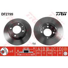 TRW DF2799 (4246L6 / 00004246L6) диск тормозной