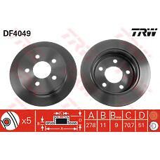 TRW DF4049 (90542180 / 569107 / 569110) диск тормозной задний\ Opel (Опель) sintra 2.2 / 3.0 / 2.2tdi 96-99