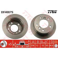 TRW DF4087S (9014230612 / 2D0615601 / 9014230412) диск тормозной   зад   MERCEDES BENZ G-CLASS 1979 >>, SPRINTER 2-t 1995 - 2006, SPRINTER 3-t 1995 - 2006, SPRINTER 4-t 1996 - 2006MERCEDES BENZ ACTROS 1997 - 2002, ATEGO 1998 - 2004, ATEGO 2 2004 >>, AXOR
