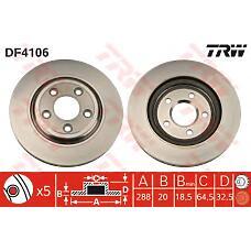 TRW DF4106 (JLM20802 / XR827087 / XR858224) диск тормозной задний\ Jaguar (Ягуар) s-type 2.5 / 3.0 / 4.0 / 4.2 / 2.7d 99>
