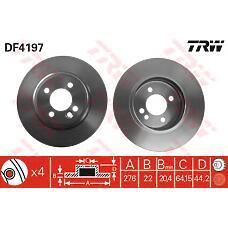 TRW DF4197 (34111502891 / 34116774984) диск тормозной передний\ rover Mini (Мини) one / cooper 1.6 / 1.4d 01>
