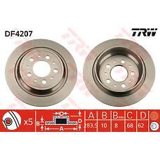 TRW DF4207 (272248 / 2722486 / 31262094) диск тормозной зад. Volvo (Вольво) v70