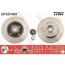 TRW DF4274BS (7701207823 / 8200038305 / DDF1) диск тормозной задний\ Renault (Рено) Megane (Меган) 1.4-2.0 / 1.9dci 02>