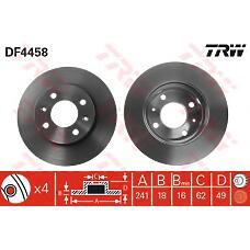 TRW DF4458 (5171207500 / 517120X500 / 5171207000) диск тормозной передний\ Kia (Киа) ricanto 1.0 / 1.1 04>