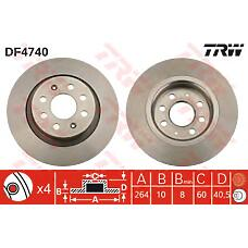 TRW DF4740 (55700592 / 55700593 / 569418) диск тормозной задний\ Fiat (Фиат) grande Punto (Пунто) 1.9d 05>