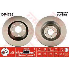 TRW DF4785 (8J0615601A) диск торм. Audi (Ауди) tt 08> задний . 1 шт (min 2 шт)