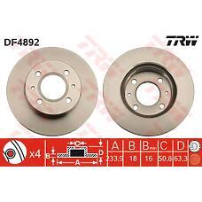 TRW DF4892 (5171202551 / 5171202550) диск торм. Hyundai (Хендай) atos перед. вент. 1 шт (min 2 шт)