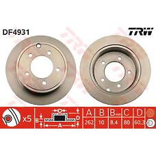 TRW DF4931 (5105515AA / 17882 / 17961) диск тормозной задний\ Chrysler (Крайслер) sebring, dodge avenger 2.0-2.7i / 2.0crd 06.07>