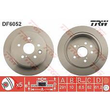 TRW DF6052 (4243130280 / DDF1815) диск торм. Lexus (Лексус) is250 05> задний 1 шт (min 2 шт) d=291mm