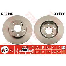 TRW DF7195 (45251S6M000 / 45251SNA000 / 45251S7AJ10) диск тормозной передний\ Honda (Хонда) stream 1.7-2.0i 05.01>