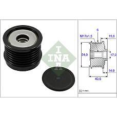 INA 535 0230 10 (51860757) шкив генератора\ Fiat (Фиат) bravo II 2.0d / croma 1.9d 05>