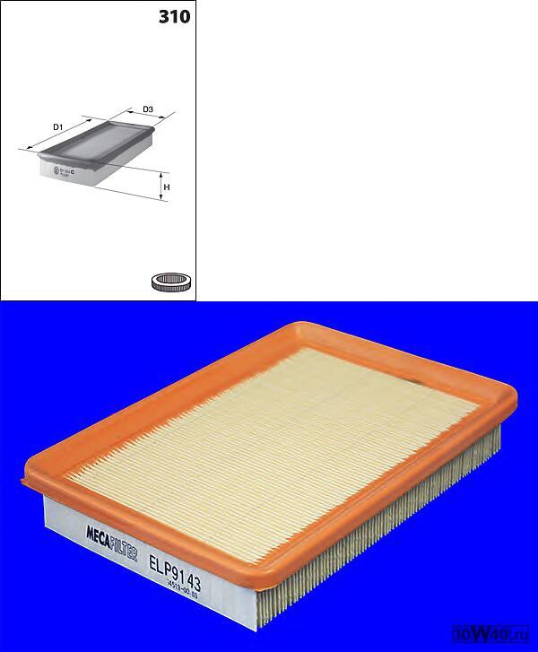ELP9143 фильтр воздушный  Hyundai Elantra 1.6/2.0 00>/ Santa FE/Trajet 2.0CRDi 01>