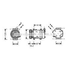 AVA QUALITY COOLING CNAK214 (6453KS / 9646273380 / 9646273880) компрессор кондиционера Citroen (Ситроен) c2 / c3 03>