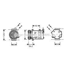 AVA QUALITY COOLING CNAK237 (6453QG / 6453QE / 6453QF) компрессор кондиционера\ Citroen (Ситроен) c3 04-07