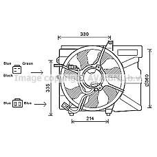 AVA QUALITY COOLING HY7525 (253801C160 / 253801C150 / 253861C100) вентилятор радиатора Hyundai (Хендай) Getz (Гетц) 1.4 / 1.6