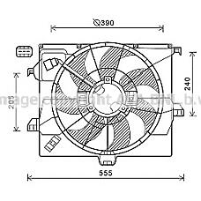 AVA QUALITY COOLING HY7542 (253801R350 / 253801R351) вентилятор радиатора Hyundai (Хендай) solaris 1.6 +ac
