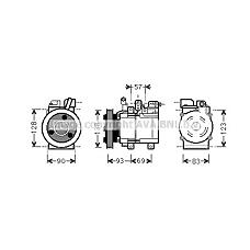 AVA QUALITY COOLING HYK259 (977014A800) компрессор кондиционера Hyundai (Хендай) h1 06> 2.4