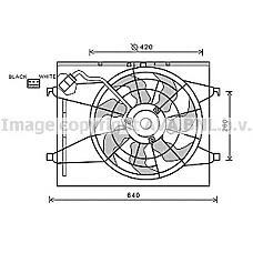 AVA COOLING SYSTEMS KA7523 (253801H050 / 253801H120 / 253802H120) вентилятор охлаждения двигателя Kia (Киа) ceed