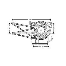 AVA QUALITY COOLING OL7515 (1341262 / 1341155 / 52464704) ava вентилятор охлаждения с кронштейном Opel (Опель) vectra 1.6-2.5 95-00