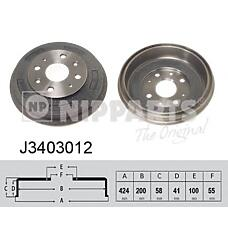 NIPPARTS j3403012 (B59626251A / B59626251C / D10226251) барабан торм Mazda (Мазда) 323 mx-3