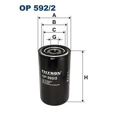 FILTRON OP 592/2 (CBU1124 / 3903264 / 3932217) фильтр масляный h170 d93 unf 1''-16 \ daf f45 / f55 / cummins / komatsu / volvo