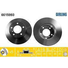 GIRLING 6015993 (4604210012 / A4604210012 / 4614210012) диск тормозной перед. не вент. mb w460 / 461 / 463   4604210012