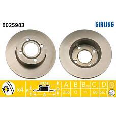 GIRLING 6025983 (895615301) диск тормозной пер.Audi (Ауди) 80 1,6-2,0 91-94