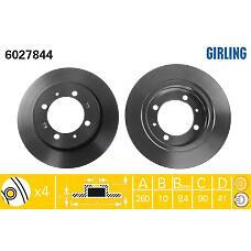 GIRLING 6027844 (MR913846 / 30872940 / MB699288) диск тормозной Mitsubishi (Мицубиси) Carisma (Каризма) 95>03 r14 / Volvo (Вольво) s40 / v40 95>03 задний