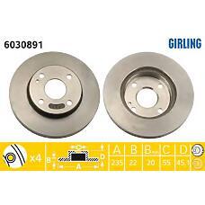 GIRLING 6030891 (BR703325X / BR703325XA / BR703325XF) диск тормозной Mazda (Мазда) 323 89-04 / demio 98- передний