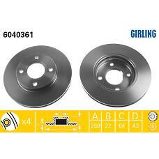 GIRLING 6040361 (3555344 / 3573537 / 1148202) диск тормозной Ford (Форд) Focus (Фокус) 98>05 / Fusion (Фюжин) 1.4 / 1.6 01> передний вентилируемый